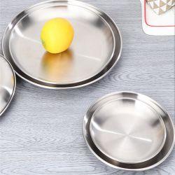 Cassetto rotondo semplice del metallo della visualizzazione della torta dello spuntino della cucina del cassetto dell'insieme di tè dell'acciaio inossidabile del cassetto argenteo di memoria