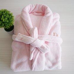 100% poliéster macio rosa coral velo confortável roupão de banho
