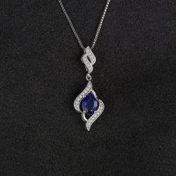 Commerce de gros créé saphir bleu ensemble collier pendentif Bijoux en argent