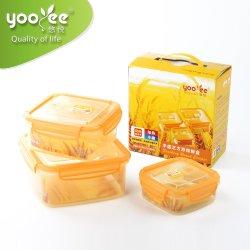 3PCS/Set квадратных очистить контейнер для продуктов питания, герметичный пластиковый контейнер для хранения с замка крышки багажника