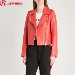 Comercio al por mayor rojo Biker-Collar Abrigo Mujer Chaqueta de cuero