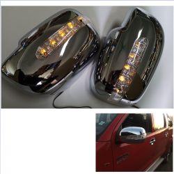 Rétroviseur arrière couvrir avec LED clignotant Hilux Vigo 2006-2014 Mettre en place pour les quantités de voiture : 2PCS/Setled Couleur : jaune et bleu Couleur : noir Chormed /