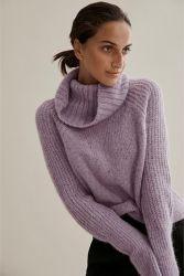 Maglione dell'alpaga del nodo del cappuccio del collo di modo del Wome Luxe dei lavori o indumenti a maglia