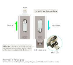 iPhone Iosの人間の特徴をもつiPadのパソコン8/16/32/64/128GBのための3in1 OTGのフラッシュ駆動機構Uのディスク・メモリの棒USB