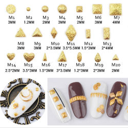 Liga de prata dourada 3D Manicure Nail DIY Charme Acessórios adesivos cintilante pernos Fosco Redondo unha decoração Arte