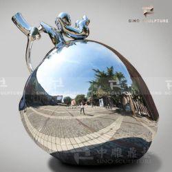 La decoración del hogar de acero inoxidable pulido espejo Apple Escultura