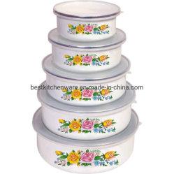 5PCS Kom de van uitstekende kwaliteit van de Salade van het Email met Plastic Deksel
