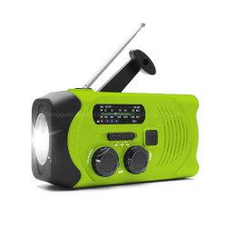 De zonne Handcrank Draagbare Openlucht Waterdichte Radio van het Flitslicht Am/FM/Noaa met de Mobiele Bank van de Macht van de Lader