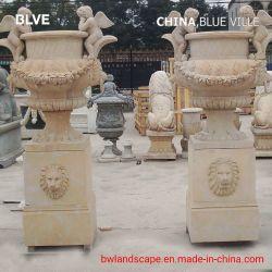 Nouveau design Jardin décor extérieur utilisé des vases de marbre sculpté Mfd Flowerpot-71