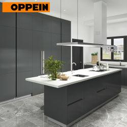 Laca Negra Mate moderno Oppein carpintería personalizado gabinetes de cocina
