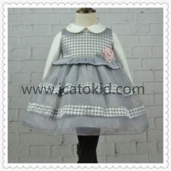 Vestito casuale grigio caldo dal vestito da partito delle lane di inverno per lle ragazze di 7 anni
