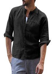 우연한 형식 남자를 위한 리넨 직물 셔츠