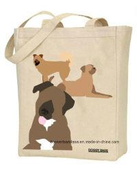 Nach Maß Firmenzeichen gedruckter förderndes Hündchen-Haustier-natürlicher Aufgaben-Baumwollsegeltuch-Strandtote-Handbeutel