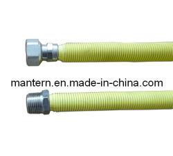 Jaune PE couverts flexible en acier inoxydable flexible de gaz en carton ondulé