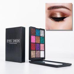 押されたきらめきのアイシャドウのパレット、ミラー(多色刷りの) Esg13534によってセットされる長続きがする一義的な目の微光の構成の化粧品を魅了する12のカラー