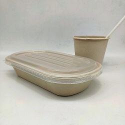 100% biologisch abbaubare Weizenstroh Geschirr Einweg-Lebensmittelbox mit PP-Deckel 800ml