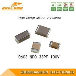 0603 Npo 33PF ± condensator van de Spaander van de Macht van de Ventilator van 5% 100V SMD Multilayer Elektronische Ceramische