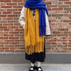 Winter-weicher Plaid-lang flockiger klumpiger länglicher Schal der Frauen