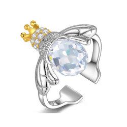 925 Anéis de prata esterlina mulheres anéis de insetos Abelha cristais de anéis