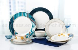 China Factory Porcelain Dinnerware Groothandel Servies Party Supplier Plate Manufacture Gold Decal Ceramic