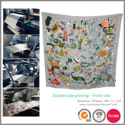 실크 스카프를 인쇄하는 두 배 옆 Colorway 디지털