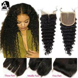 Angelbella 4X4 de la India el cierre de cordones de la onda profunda del cabello virgen los cierres de las mujeres negras