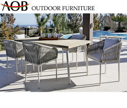Morden ensemble à dîner en plein air Jardin meubles de l'hôtel en bordure de piscine Retangular aluminium chaise et table