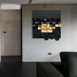 Simple lado moderno de la talla en madera pintura decorativa Sofá Resumen Antecedentes La geometría 3D Creative Dormitorio porche colgando de la pintura