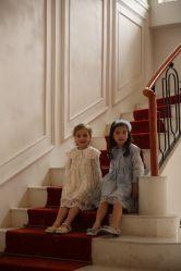 أزياء فاسي زهرة فتاة تطريز طويل القميص مربع الياقة ثوب Lace الطرف