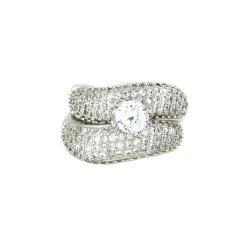 Imitazione anelli di accoppiamento anello di diamante rodio dorata placcatura campanatura di moda Design