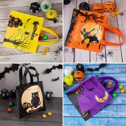 Non-Woven Halloween Trick or Treat Tote Goody Tote bolsas coloridas