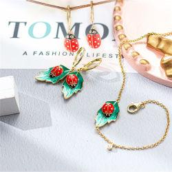 2021 Fashion e venda quente 925 Prata ou Bronze Esmalte Animal Bracelete Colar Bangle Pendente Brinco Anel para Senhoras