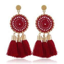 L'automne et hiver nouveau maillage en tricot circulaire Earrings Simple Tassel Handmade Earrings