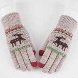 겨울 니트 장갑 여성용 크리스마스 선물 디어 자카드 니트 캠핑 달리용 장갑