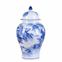 고대 거실은 중국 블루와 화이트 풍경 큰 장식입니다 일반 냄비 장식 블루 및 화이트 세라믹
