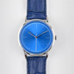 L'homme personnalisé Handwound bleu montre à quartz de Montres de mode sur bracelet alligator de grain