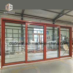 Деревянные окна с алюминиевыми оболочка, роскошный твердый из тикового дерева раздвижные двери Китай поставщика