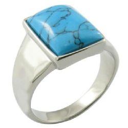 Anillo de piedra de la Gema Joyería De color turquesa el anillo de acero