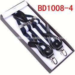 Botón de cuero tejido Jacquard moda encajar suspender a los hombres (BD1008)
