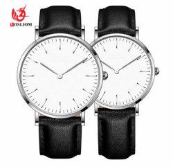 Mode couple mâle minimaliste des montres à quartz de ceinture en cuir rétro Femalel montre-bracelet Design cuir Watch Relog #V323