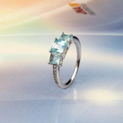 Beaux bijoux 925 Bijoux en argent sterling avec Topaze bague de mariage pour les femmes