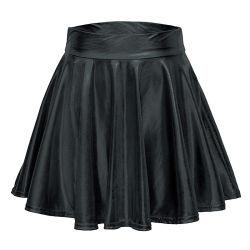 Дамы летом сплошным цветом ежедневно знакомства PU мини-юбки гофрированный