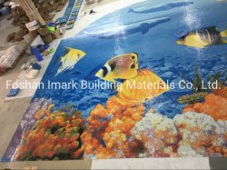 Het blauwe Mozaïek van de Tegel van het Glas van de Vissen van het Beeld van het Patroon van het Zwembad van de Dolfijn