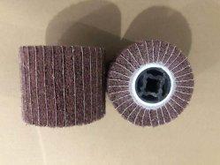 Rotella di lucidatura di lucidatura del timpano della falda della spazzola 120*100*19mm del dispersore del metallo del raso di nylon non tessuto della spazzola