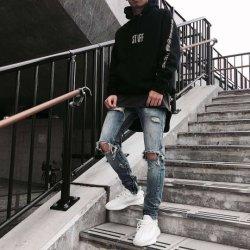 Новая торговая марка прибытия Skinny черный Ripped мужчин мода джинсы