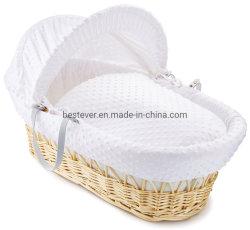 Super Zachte Natuurlijke Rieten Mozes Basket met de Handvatten van het Leer