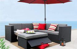 Heißes Rattan-Sofa des Verkaufs-2020 K/D stellte für im Freienmöbel mit Kissen mit 5mm dem ausgeglichenen Glas ein