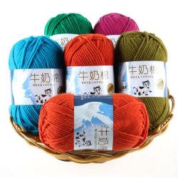 Varios colores en el tejido de hilo suave estambre bebé leche espesa hilados de algodón para Crochet