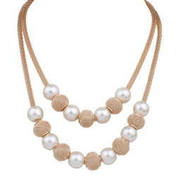 Fashion Gold Color Multilayer Choker Pearl Necklace Women Costume Statement Jewelry