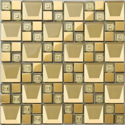ラグジュアリーゴールデンスクエアミラータイルダイヤモンドガラスクリスタルモザイク 壁の装飾